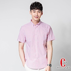 Christian 棉麻水洗休閒襯衫_粉红格(RS836-13)