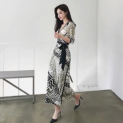 IMStyle 時尚幾何印花繫帶連身洋裝(幾何圖騰)