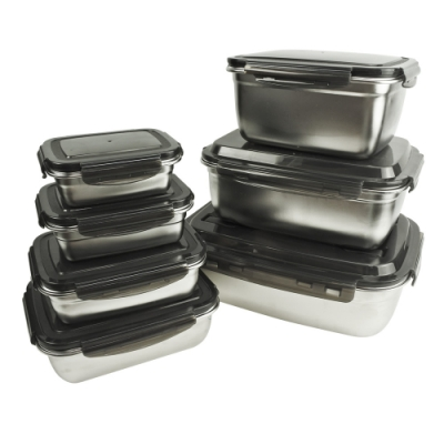 JLM 304不鏽鋼樂扣保鮮盒-3800ml(贈瓦斯爐保護墊*2)