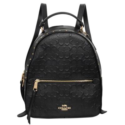 COACH黑色鉚釘浮雕C Logo全皮硬版中款後背包