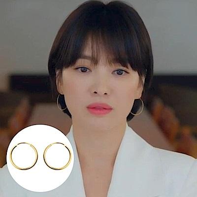 梨花HANA  韓國S925銀男朋友宋慧喬大圈黃金耳環