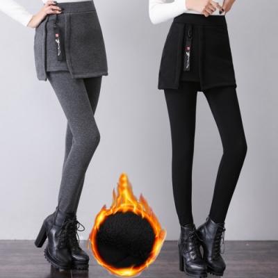 挑高顯瘦假二件加絨打底裙褲3XL-6XL(共二色)KVOLL