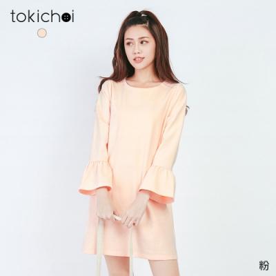 東京著衣 淘氣美媚素色喇叭袖棉質洋裝-S.M.L