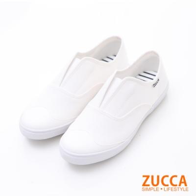 ZUCCA-V口縫邊皮革懶人鞋-白-z6213we