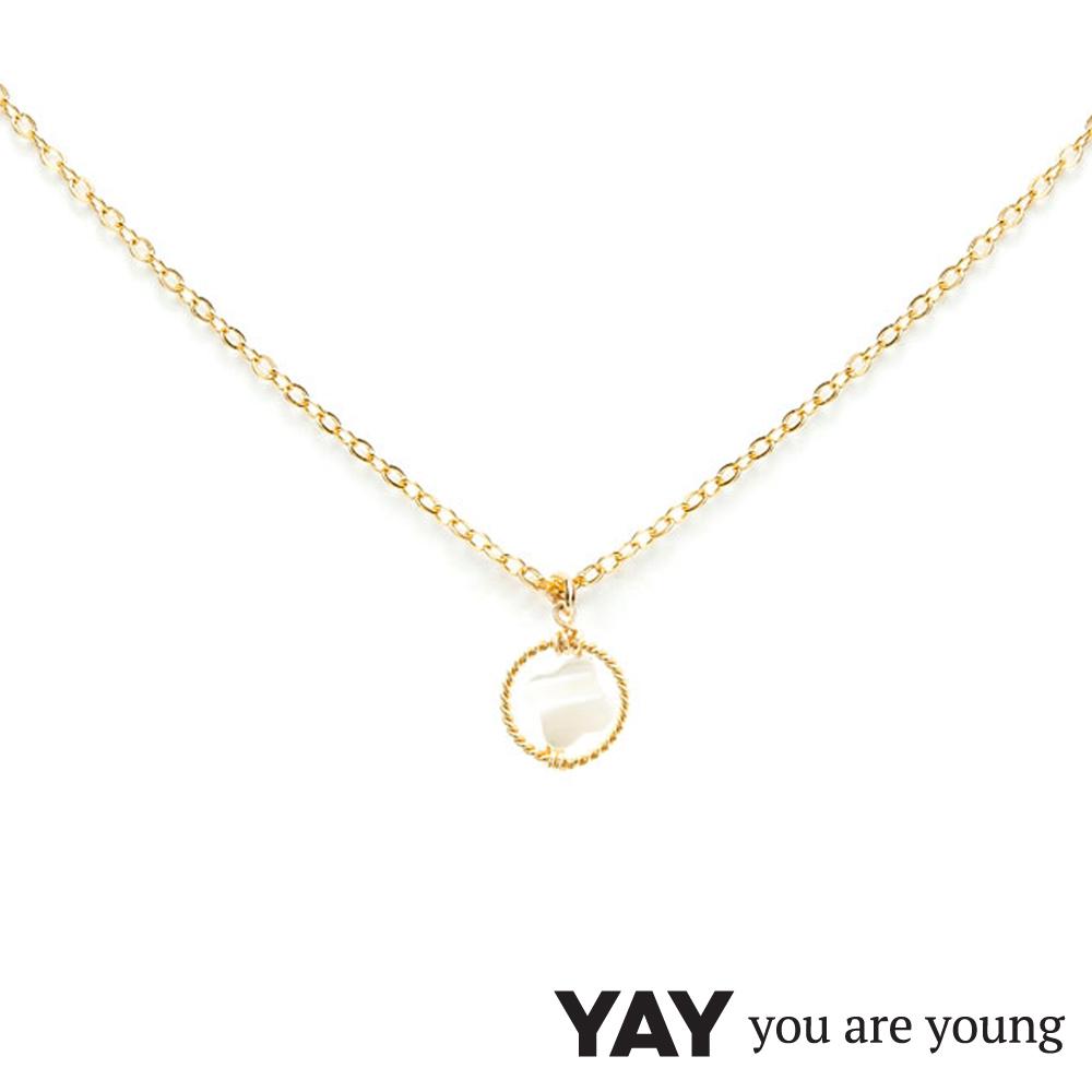 YAY You Are Young 白天鵝 珍珠母貝幸運草項鍊 金色X白色 單墜簡約款
