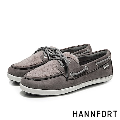 HANNFORT CALIFORNIA暖心毛毛帆船鞋-女-大象灰