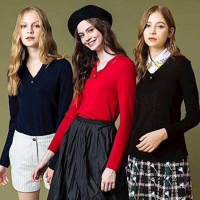 OUWEY歐薇 優雅知性V領針織上衣(黑/藍/紅)