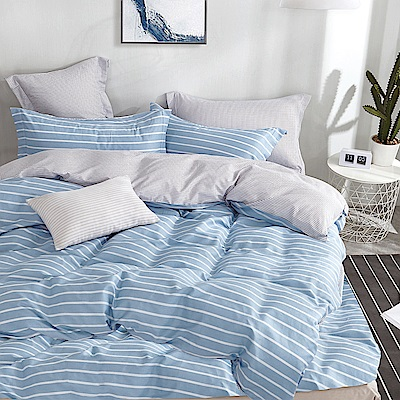 Ania Casa 台灣製 100%精梳純棉 - 單人床包被套三件組 蒙特卡洛-青藍