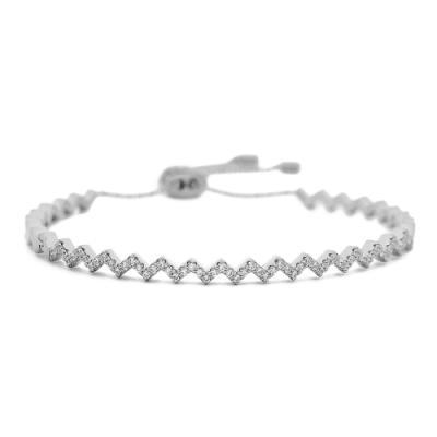 apm MONACO法國精品珠寶 閃耀銀色z字鑲鋯可調式手環手鍊