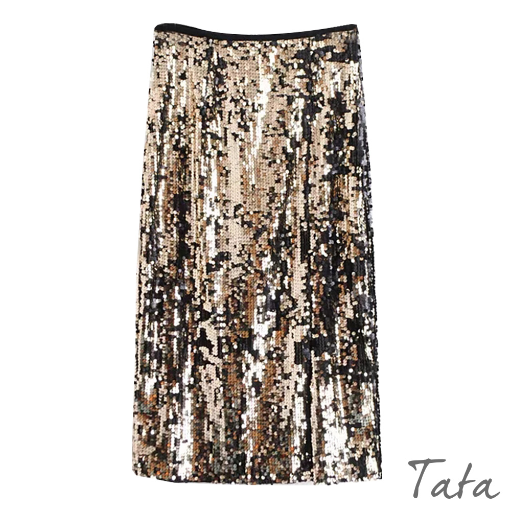 閃亮珠片開叉及膝裙TATA