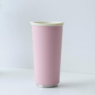 JIA Inc.虹彩鋼 雙層琺瑯塗層隨行杯470ml(粉紅色)(快)