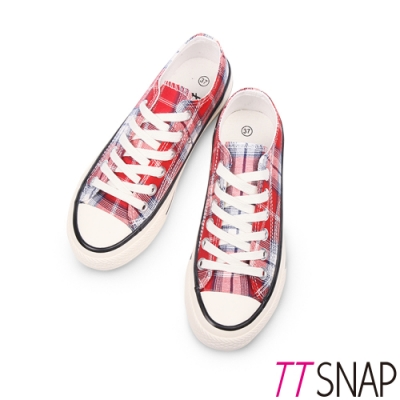 TTSNAP帆布鞋-英倫格紋綁帶厚底增高平底鞋 紅