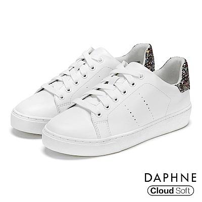 達芙妮DAPHNE 休閒鞋-原色佐閃耀亮片雲軟厚底休閒鞋-銀