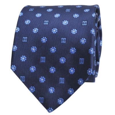 DAKS 經典品牌DD圖騰領帶(藍底/藍紋)