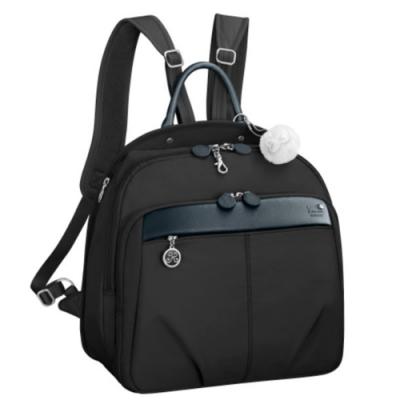 Kanana卡娜娜 大型 寬版多功能尼龍手提後背包-黑色