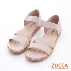 ZUCCA-素純色皮革平底涼鞋-白-z6806we