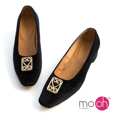 mo-oh-絲絨真皮金屬扣復古低跟娃娃鞋-黑色