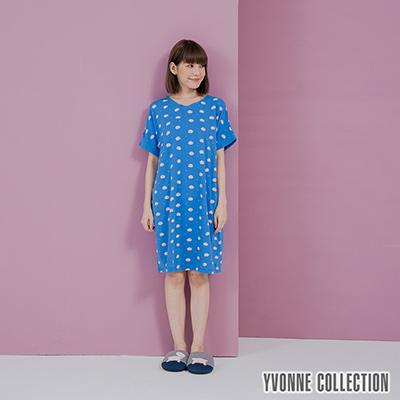 YVONNE手繪豬豬印花V領短袖洋裝-藍