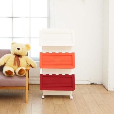 H&R安室家 可移式雙開設計整理收納箱3入組 BNF68
