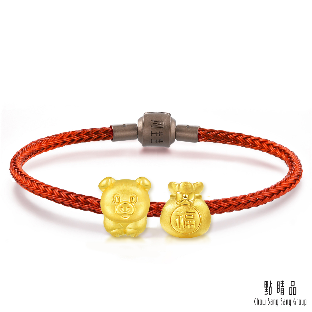 (送5%超贈點)點睛品 999純金 Charme 「豬」有福 黃金串珠組
