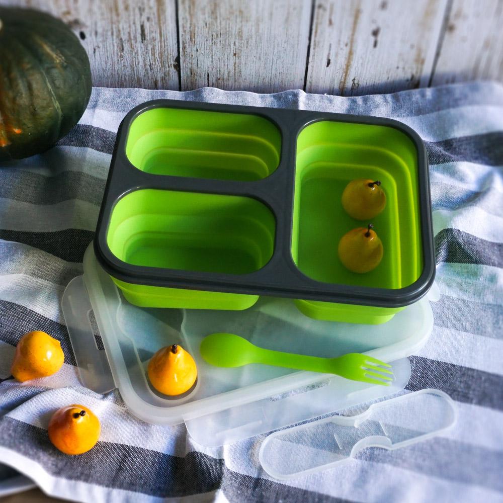 Homely Zakka 伸縮收納矽膠分隔保鮮便當餐盒-綠色