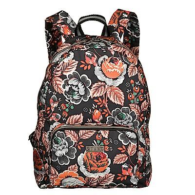 旅行收納後背包-法國玫瑰復刻印花-經典黑 LiliO