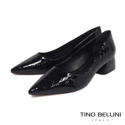 Tino Bellini 巴西進口石頭紋牛漆皮中低跟鞋_黑