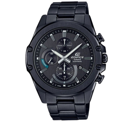EDIFICE 神秘黑時尚藍寶石玻璃不鏽鋼賽車錶-(EFR-S567DC-1A)/45.6