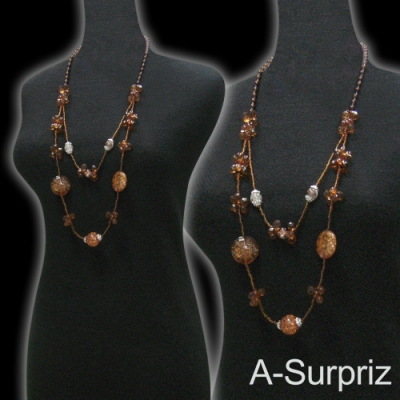 A-Surpriz 古典花漾串珠長項鍊(咖)