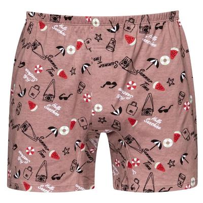 DADADO-SUMMER TIME M-3L印花四角男內褲(咖啡) 天然絲光棉-吸濕排汗