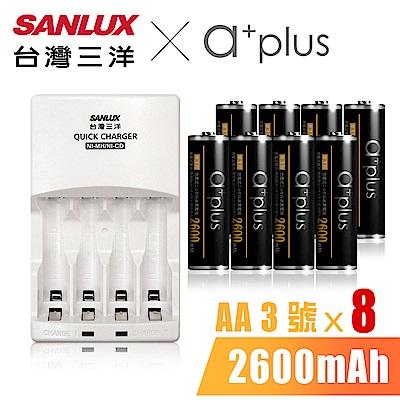 SANLUX台灣三洋 X a+plus充電組(附3號2600mAh電池8入)