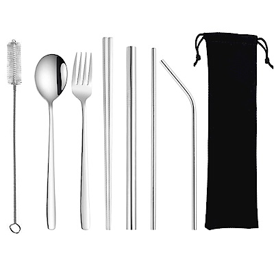 PUSH!餐具用品鍍鈦環保304不鏽鋼吸管餐具8件套裝E135(一套組)