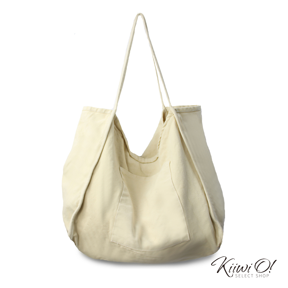 Kiiwi O! shoulderbag | 大容量兩面水洗棉帆布包 原色