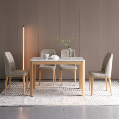 MUNA 艾森特4尺白橡色石面餐桌(不含椅) 120X70X75cm