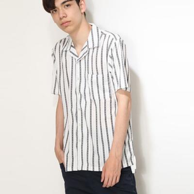 短袖襯衫開領條紋(3色) ZIP日本男裝