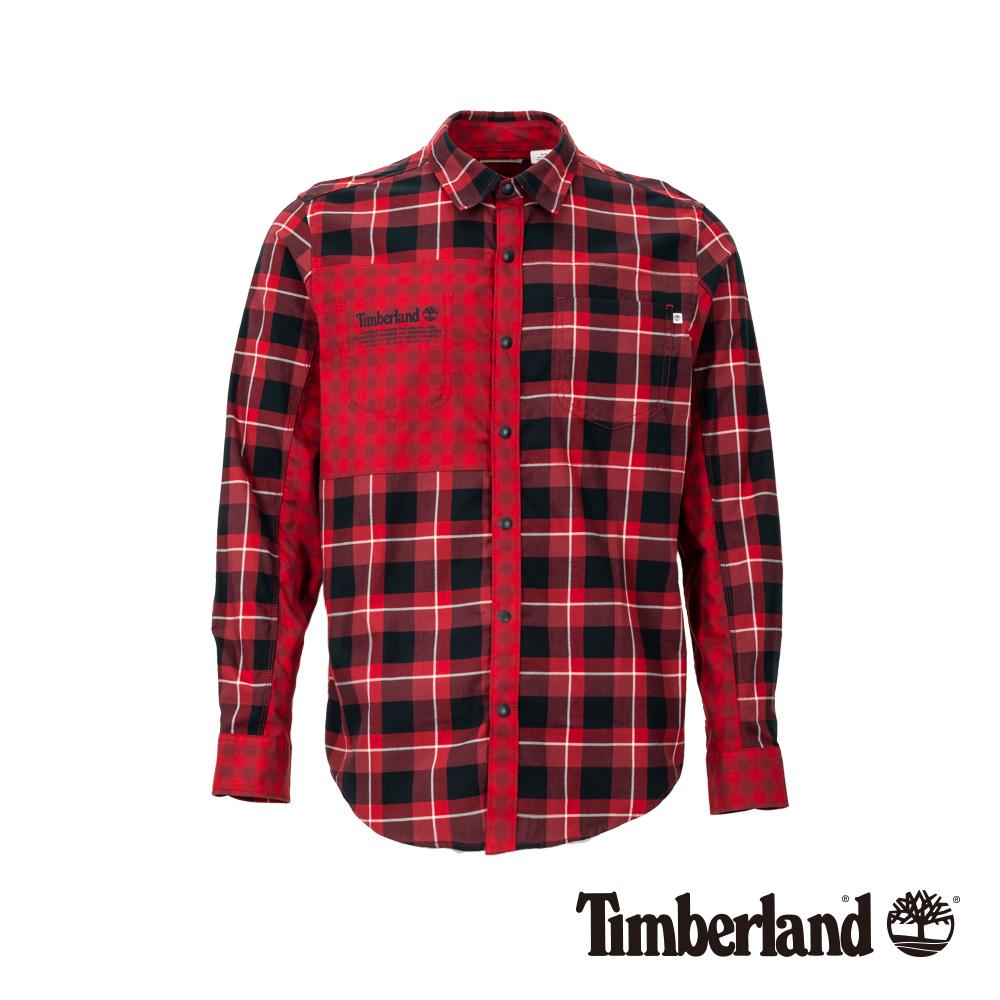 Timberland 男款紅藍格紋拼接法蘭絨長袖襯衫 A1WVQ