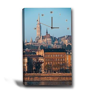 美學365-單聯式直幅 掛鐘無框畫-巴洛克建築-40x60cm