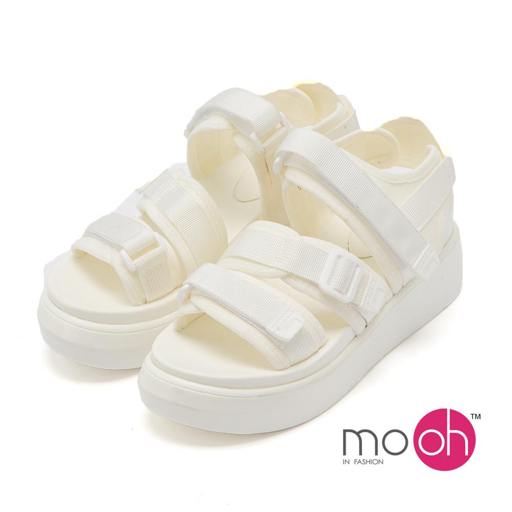 mo.oh - 露趾舒適防滑厚底沙灘涼鞋-白色