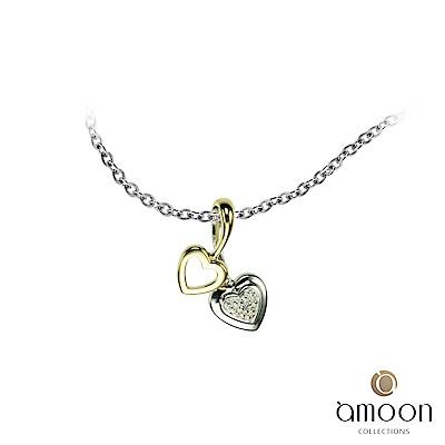 amoon 浪漫雙子星系列 情意 K金鑽石墜子 送項鍊