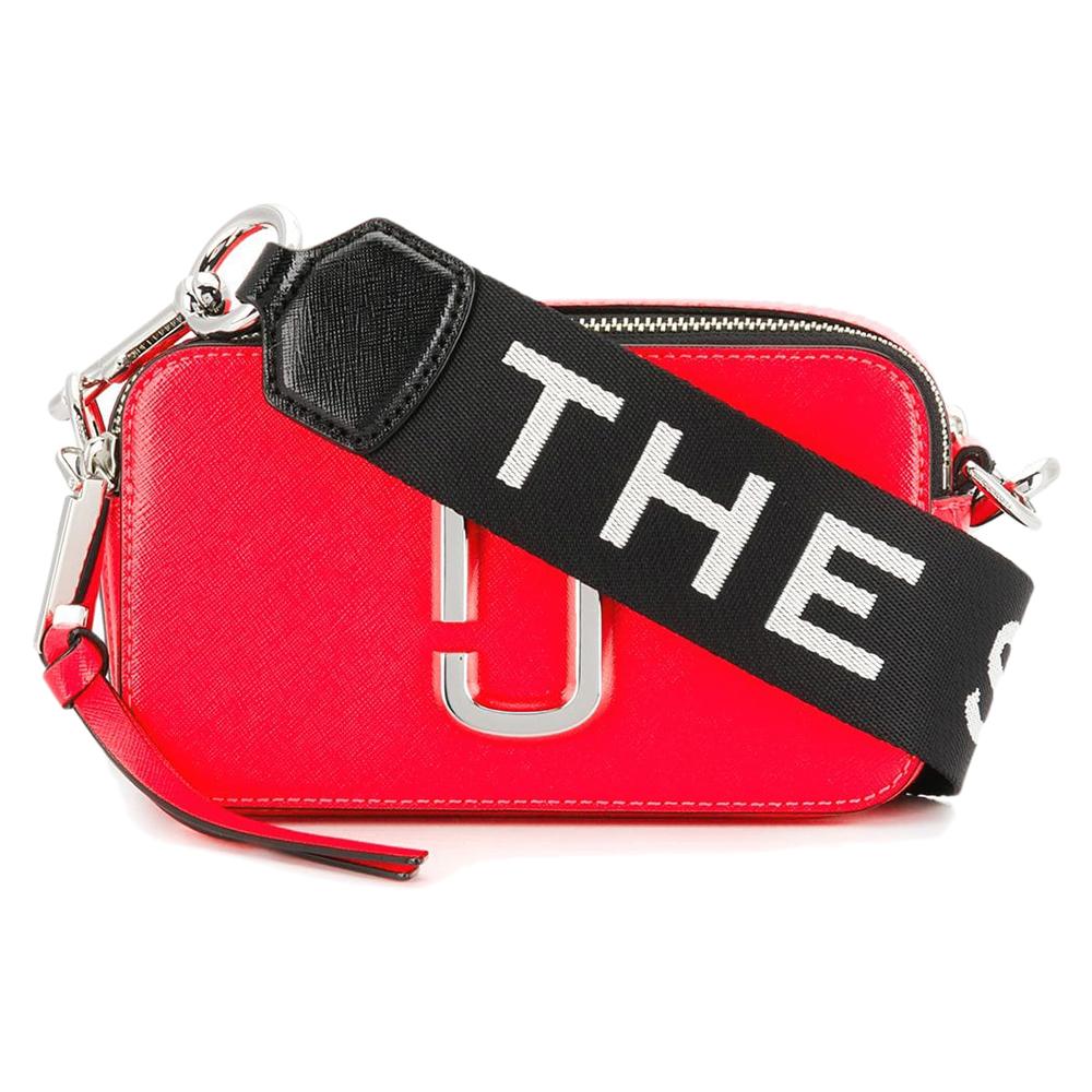 MARC JACOBS Snapshot 品牌背帶防刮牛皮相機包/斜背包-螢光紅