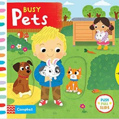 Busy Pets 照顧寵物的一天硬頁操作拉拉書