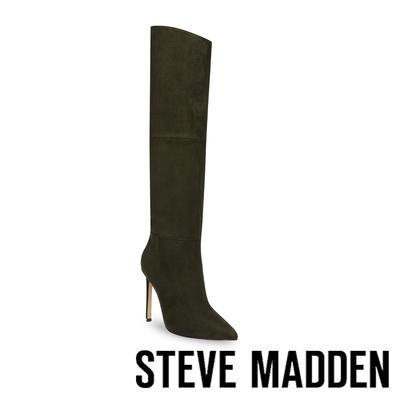 STEVE MADDEN-DANESSA 絨布尖頭高跟過膝長靴-墨綠色