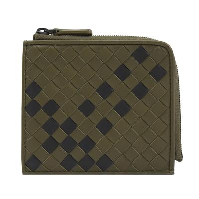 BOTTEGA VENETA 像素風編織羊皮拉鍊零錢包(綠/黑)
