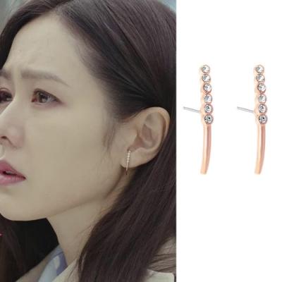 梨花HaNA  韓國925銀愛的迫降尹世理彎月鑽石耳環