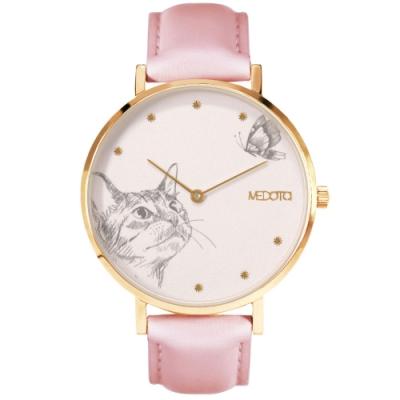 MEDOTA Love系列手繪風格貓咪粉色真皮錶帶女錶 / 金色