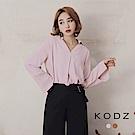 東京著衣-KODZ V領俐落剪裁打摺上衣-S.M.L(共二色)