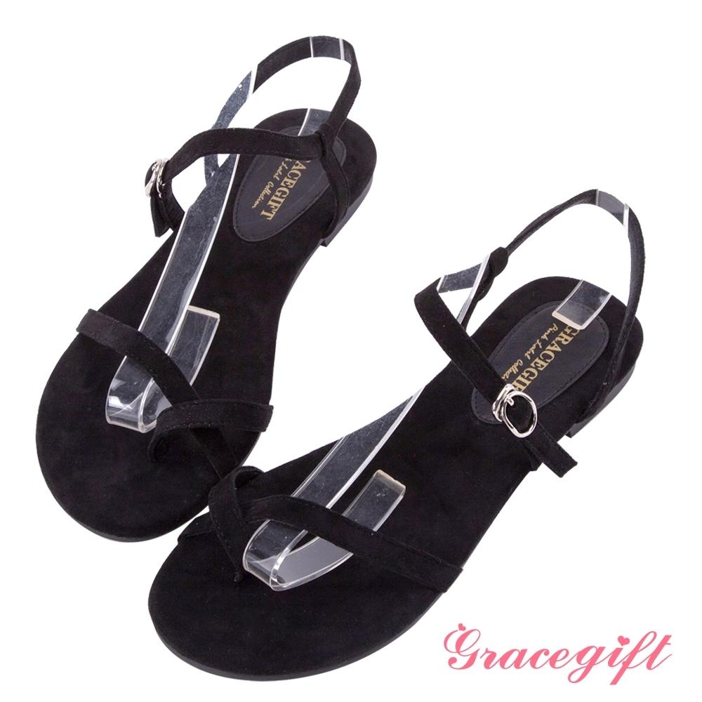 Grace gift-質感絨布細帶套趾涼鞋 黑