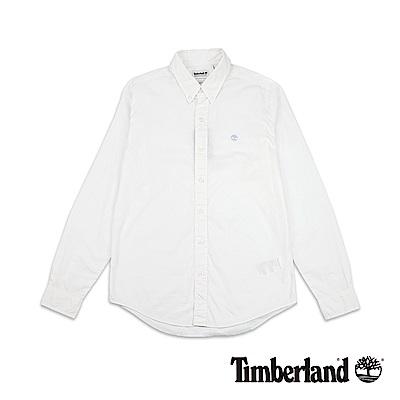 Timberland 男款白色長袖TFO 刺繡襯衫|A1LSN