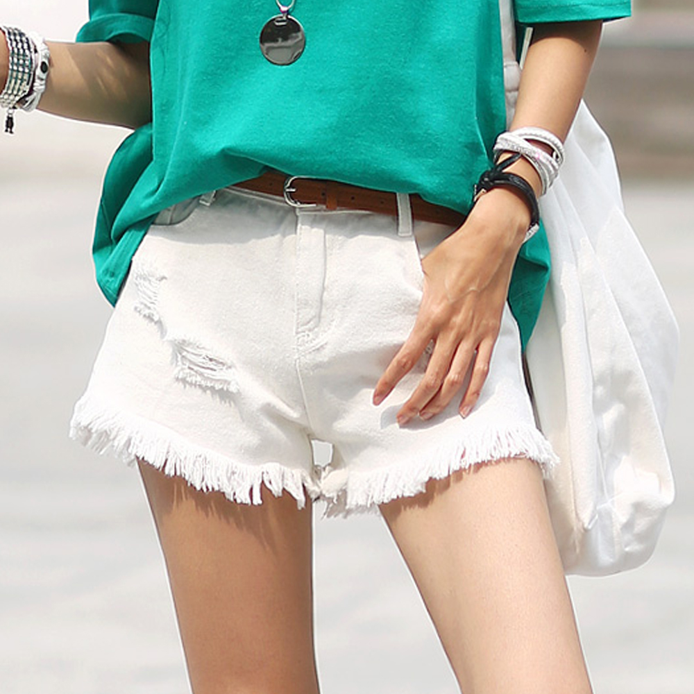 正韓 個性破損抓痕抽鬚管短褲 (共二色)-N.C21