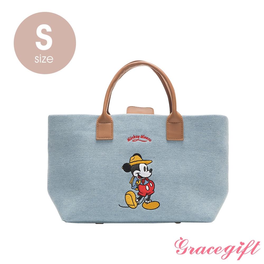 Disney collection by grace gift–唐葳設計迪士尼米奇露營2WAY帆布包S 單寧
